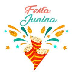 festa junina popcorn white background image vector image