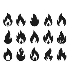 Fire flame icons simple burning campfire vector