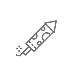 firecracker firework rocket line icon vector image