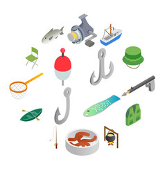 fishing isometric 3d icons set vector image