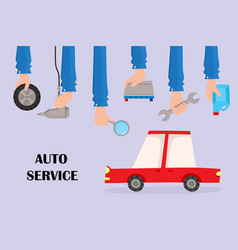 Flat auto service poster with hands car vector