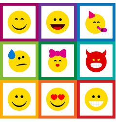flat icon emoji set of pouting party time vector image