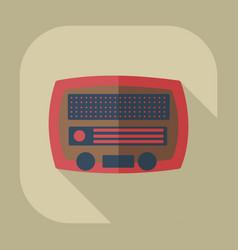 Flat modern design with shadow old radio vector