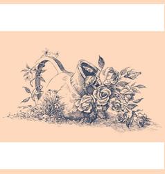 flowers in ceramic pot in garden hand drawing vector image