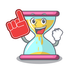 Foam finger vintage hourglass isolated on the vector