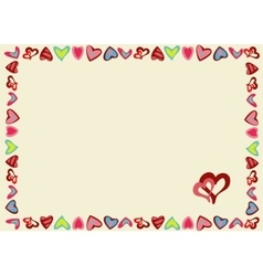 Frame of hearts on a yellow background vector image