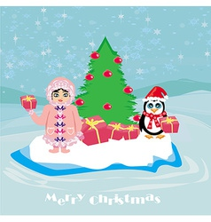 funny Christmas card - a penguin and a small vector image