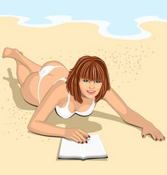 ginger woman with book vector image