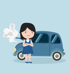 girl standing near breakdown car vector image