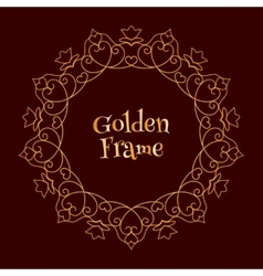 Golden Frame with Hearts vector image