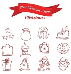 Hand draw of red icon Christmas vector