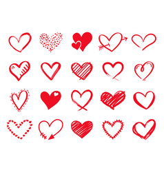 hand drawn scribble hearts painted heart shaped vector image
