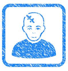 Head hurt framed stamp vector