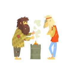 homeless men warming themselves near fire vector image