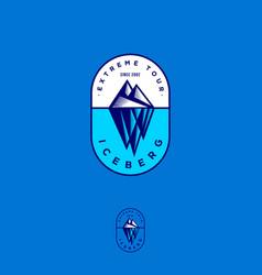 iceberg logo extreme tour emblem engraving style vector image