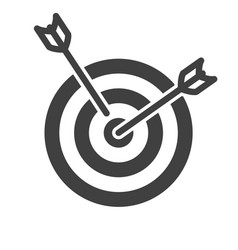 Icon of a target with two arrows on a white vector
