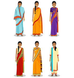 Indian woman set of different standing young vector