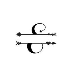 Initial e love monogram split letter isolated vector