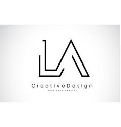 La l a letter logo design in black colors vector