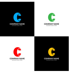letter c logo icon flat and design vector image