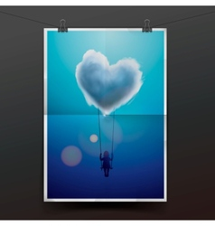 Little girl on a swing under heart shape cloud vector