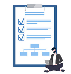 man sitting with laptop board with goals vector image