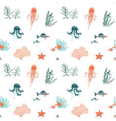 marine life flat seamless pattern background vector image