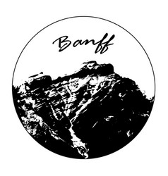 miss cascade mountain with banff text vector image