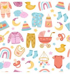 nursery seamless pattern abstract rainbow stars vector image