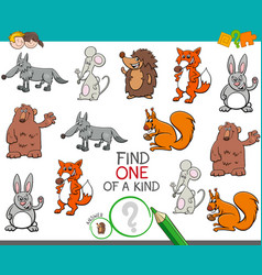 One a kind game with cartoon animal characters vector