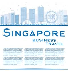 Outline Singapore skyline with blue landmarks vector image