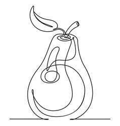 Pear continuous line vector