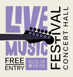 poster for live music festival with guitar vector image