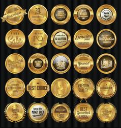 premium quality retro golden badge collection vector image