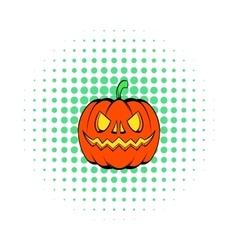Pumpkin icon in comics style vector