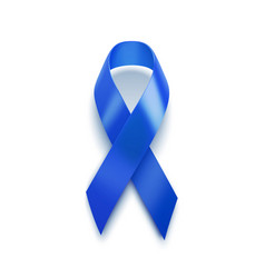 Realistic blue ribbon 3d icon isolated on white vector