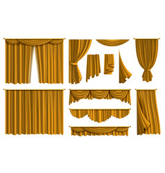 Realistic golden curtains luxury fabric silk vector