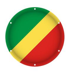 Round metallic flag of congo with screw holes vector