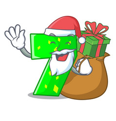 santa with gift number seven isolated on the vector image