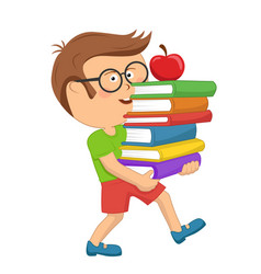 Schoolboy carrying stack books with red apple vector