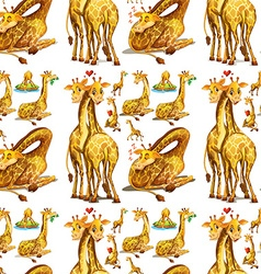 Seamless giraffe in different actions vector