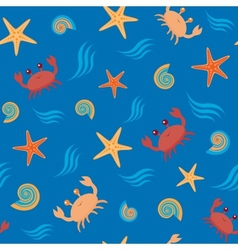 Seamless pattern with crabs and shells vector image vector image