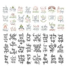 Set 50 hand lettering inscription positive vector