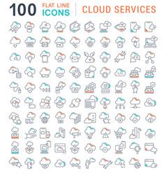Set line icons cloud services vector