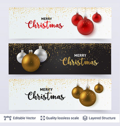 Set of banners with shiny toy balls and text vector