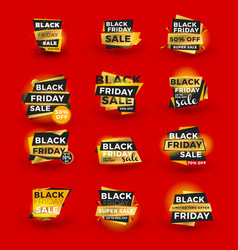 set of black friday sale sticker discount banners vector image