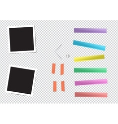 Set of different size sticky adhesive tape vector