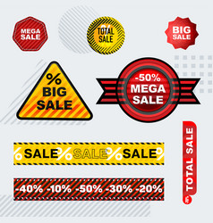 Set sale stickers different shapes vector