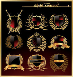 Shield and laurel wreath - set vector image