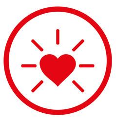 Shiny love heart rounded icon vector
